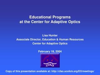 Educational Programs at the Center for Adaptive Optics