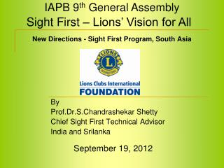 New Directions - Sight First Program, South Asia
