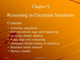 Chapter 9 Reasoning in Uncertain Situations