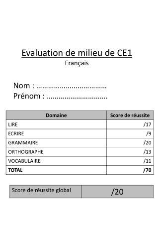 Evaluation de milieu de CE1 Fran�ais