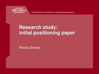 Research study:  initial positioning paper