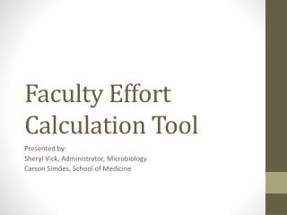 Faculty Effort Calculation Tool