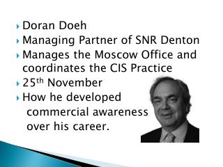 Doran  Doeh Managing Partner of SNR Denton