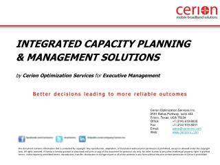 INTEGRATED CAPACITY PLANNING  & MANAGEMENT SOLUTIONS