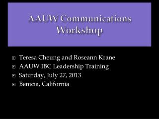 AAUW Communications Workshop