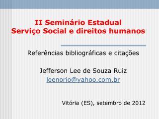 II Seminário Estadual Serviço Social e direitos humanos