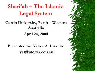 Shari'ah – The Islamic Legal System