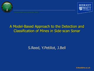 A Model-Based Approach to the Detection and Classification of Mines in Side-scan Sonar