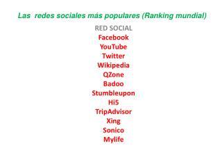 Las  redes sociales más populares (Ranking mundial)