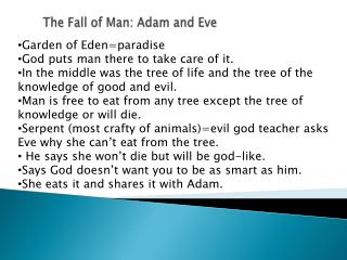 The Fall of Man: Adam and Eve