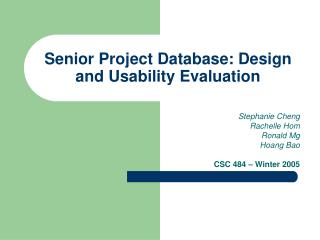 Senior Project Database: Design and Usability Evaluation