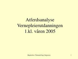 Atferdsanalyse Vernepleierutdanningen  1.kl. våren 2005