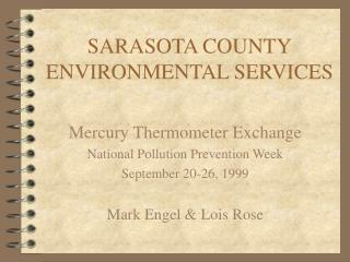 SARASOTA COUNTY ENVIRONMENTAL SERVICES
