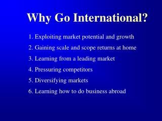Why Go International?