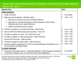 Green Dot Public Schools Board of Directors Executive Committee Meeting March 20 th , 2013