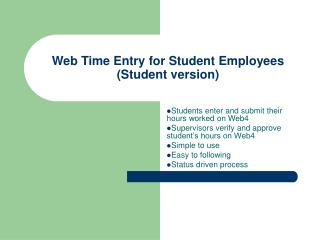 Web Time Entry for Student Employees Student version