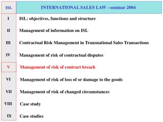 INTERNATIONAL SALES LAW - seminar 2004