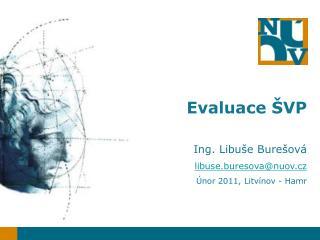 Evaluace ŠVP Ing. Libuše Burešová libuse.buresova@nuov .cz Únor 2011, Litvínov - Hamr