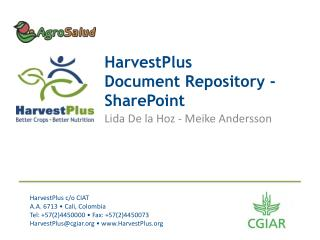 HarvestPlus  Document Repository - SharePoint