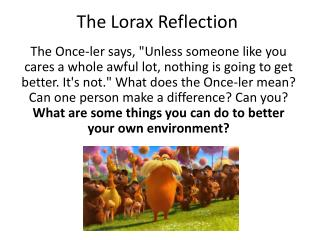 The  Lorax  Reflection
