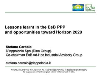Lessons learnt in the EeB PPP and opportunities toward Horizon 2020