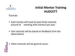 Initial Mentor Training HUDCETT
