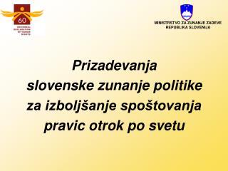 Prizadevanja  slovenske zunanje politike  za izboljšanje spoštovanja  pravic otrok po svetu