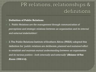 PR relations, relationships & definitions