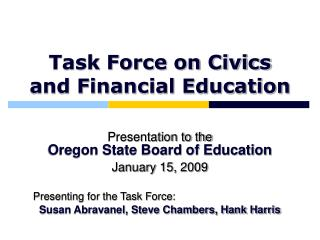 Task Force on Civics and Financial Education
