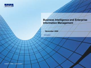 Business Intelligence and Enterprise Information Management