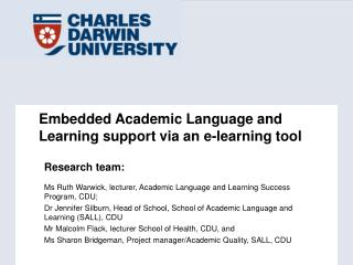 Embedded Academic Language and Learning support via an e-learning tool