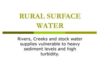 RURAL SURFACE WATER