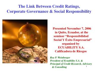 The Link Between Credit Ratings,   Corporate Governance & Social Responsibility