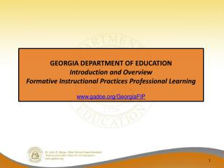 GEORGIA DEPARTMENT OF EDUCATION Introduction and Overview