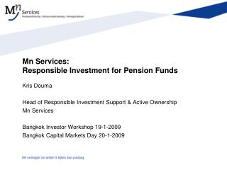 Mn Services:  Responsible Investment for Pension Funds