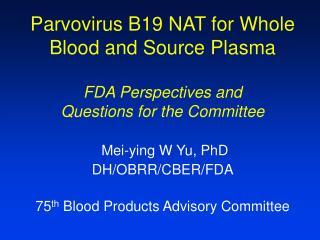 FDA Perspectives (I)
