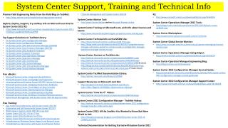 System Center Support, Training and Technical Info