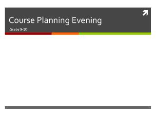 Course Planning Evening