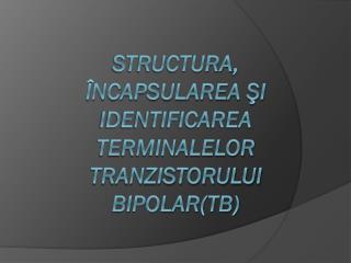 Structura ,  încapsularea şi identificarea terminalelor Tranzistorului  Bipolar(TB)