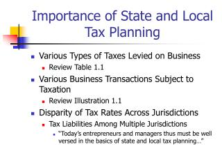 Importance of State and Local Tax Planning