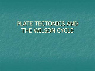 PLATE TECTONICS AND  THE WILSON CYCLE