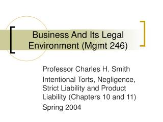Business And Its Legal Environment (Mgmt 246)