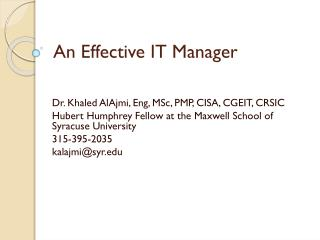 An Effective IT Manager