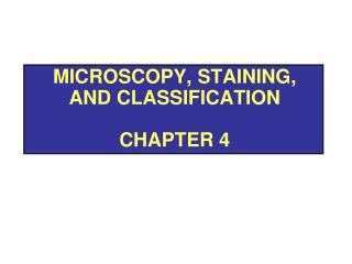 Microscopy, Staining, and Classification Chapter 4