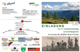 zum  77. Landesalmwandertag auf die  Emberger Alm am Samstag,  20. Juli 2013  | Berg im Drautal