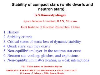 Stability of compact stars (white dwarfs and neutron stars)  .