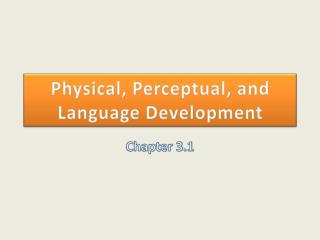 Physical, Perceptual, and Language Development