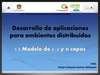 Desarrollo de aplicaciones para ambientes distribuidos 1.3 Modelo de 2, 3 y n capas