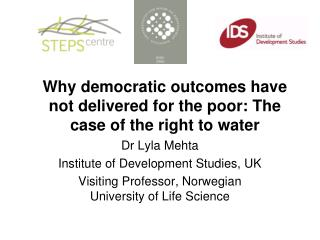 Why democratic outcomes have not delivered for the poor: The case of the right to water