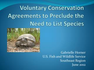 Voluntary Conservation Agreements to Preclude the Need to List Species